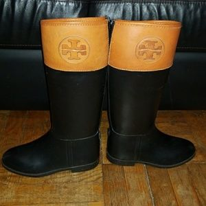 Tory Burch Rain Boots with Leather trim